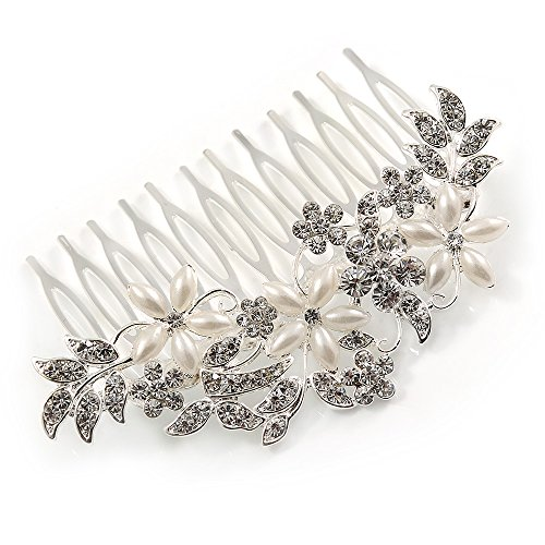 Bridal/ Wedding/ Prom/ Party Rhodium Plated Clear Austrian Crystal, Faux Pearl Floral Hair Comb - 85mm ()