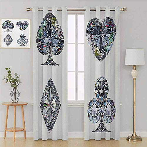 Benmo House Diamond grummet Curtain Room Divider Curtain Screen Partitions,Playing Cards Diamonds Hearts Clubs Spades Casino Theme Charm Art Graphic Design Curtain Panels 96 by 96 Inch White Silver