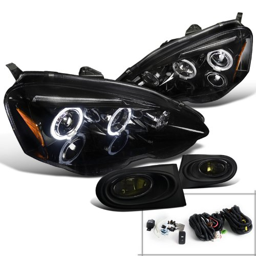 Acura RSX Glossy Black Halo LED Projector Headlights+Smoke Fog ()