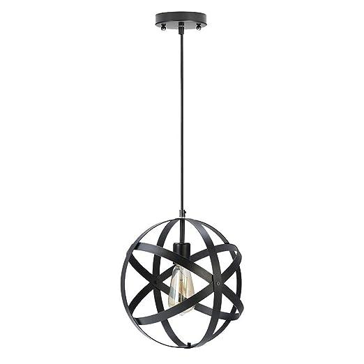 HULUWA Luz colgante de metal industrial, Luz colgante esférica ...