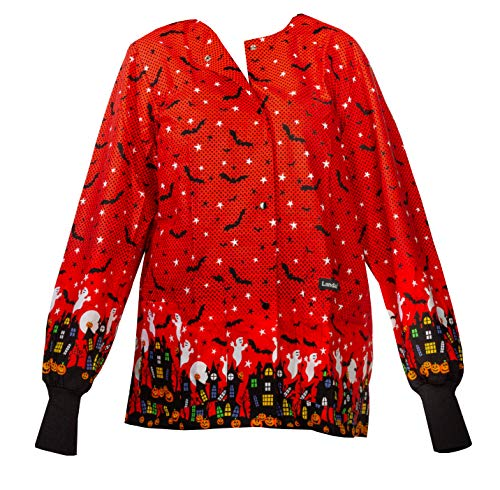 Landau Women's Crew Neck Warm-up Halloween Print Scrub Jacket Print,Spooky Town, Small for $<!--$42.16-->