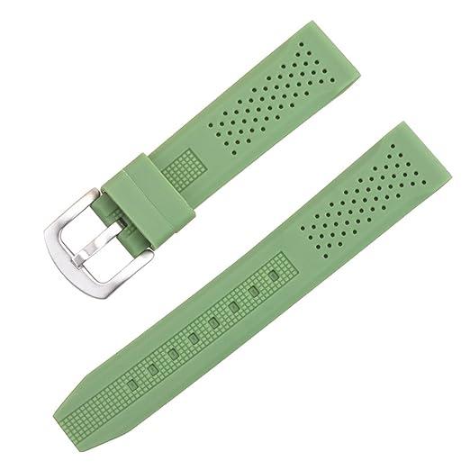 reloj del silicio verde 22mm correa de goma blanda para los buzos relojes de goma resistente al agua correas de reloj: Amazon.es: Relojes