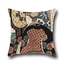 16 x 16 inches / 40 by 40 cm oil painting Yashima Gakutei - A woman playing a large suspended drum (tsuridaiko) A set of five prints for the Hisakataya poetry c throw pillow case ,both sides ornament and gift to him,adults,chair,home,dinning room,kids girls