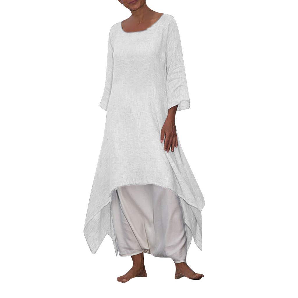 Women's Dress Casual Loose Long Sleeve Cotton Linen Boho Long Dress Chic Irregular Dress by Snowfoller-Dress