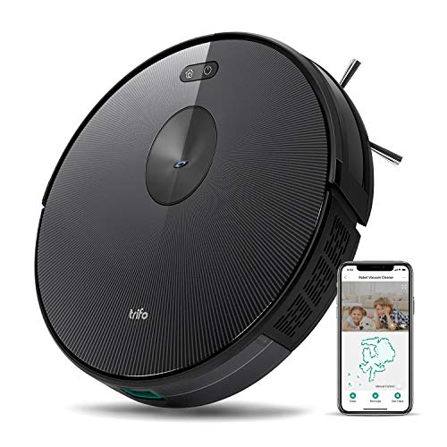 Trifo Ironpie H6 Robot Vacuum Cleaner Wi-Fi Connected Camera, 1800Pa Suction, Ultra Slim, Self-Charging Robotic Vacuum for Cleaning Pet Hair, Hard Floors, Carpets, Remote App Control, Black Stripe