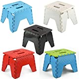 ASAB Small Folding Step Stool Plastic Multi Purpose Slip Resistant Top Step Foldable Easy Storage Home Kitchen Max Load 150kg - 25 x 21 x 21cm - Green
