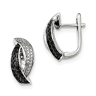 Best Birthday Gift Sterling Silver Black Spinel & CZ Brilliant Embers Earrings free shipping