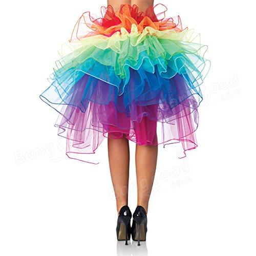 Bazaar Girls Rainbow Tutu Dress Sexy Puff Skirt Tail Party Cosplay Club Dress