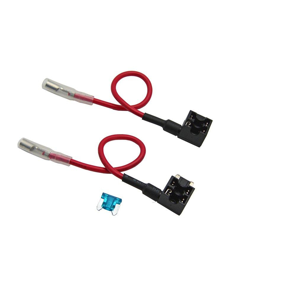 Paquete de 2 FOSHIO 12V Fusible de circuito de montaje para autom/óvil Adaptador ACN TAP Perfil de l/ámina de perfil bajo Portafusibles con fusible de 15A y mazo de cables