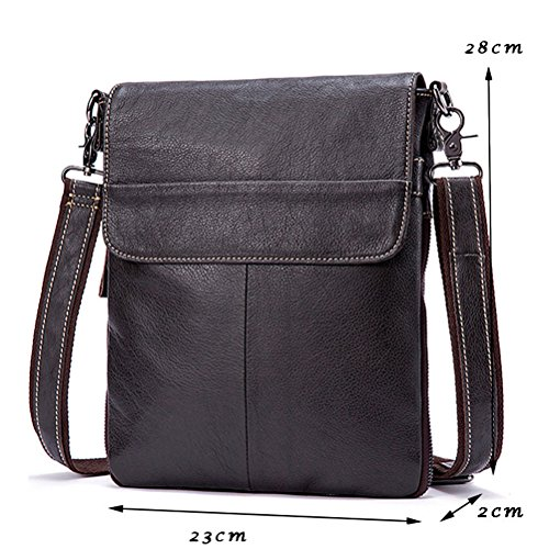 Coffee Body Para Cowhide First School Leather Mens Messenger Mans Daypack Work And Medium Zhhlinyuan Women Bag Soft Multi Zipper pocket Cross Shoulder w7q4xW16Sg