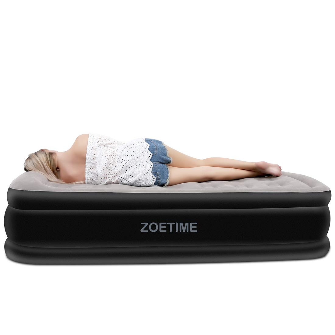 Zoetime Upgraded Twin Air Mattress Blow up Elevated Raised Guest Bed Inflatable Airbed with Built-in Electric Pump, 18.5 inches Height from Pillow to Ground Thickness Increase Version, Gray