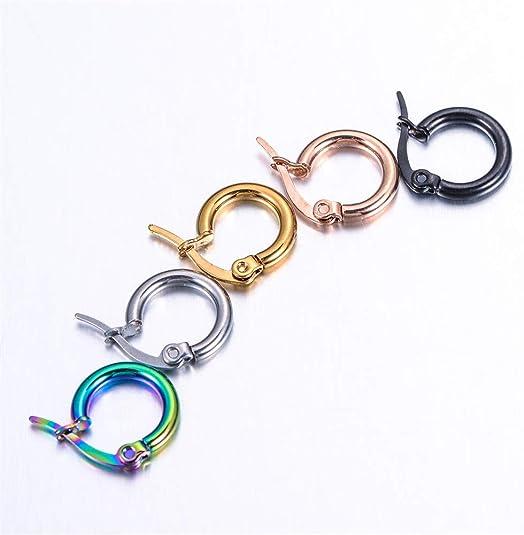 Dia.10mm HOUSWEETY 5 Pairs 5 Colors Stainless Steel Smooth Simple Hoop Earrings