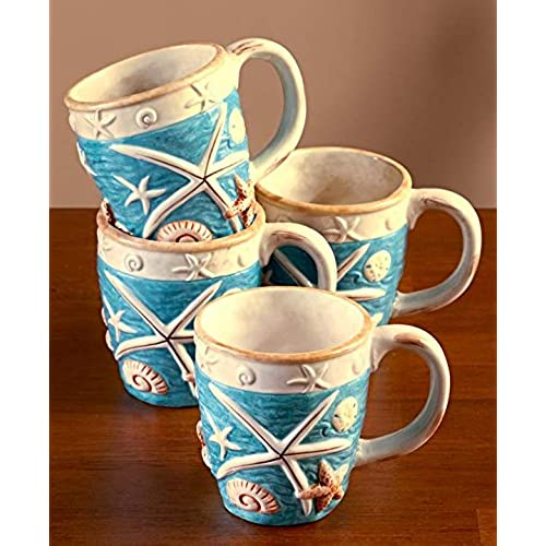 Seashell Coastal Cottage Mugs 12 Oz Hand Painted Earthenware Set of 4  sc 1 st  Amazon.com & Coastal Dinnerware Set: Amazon.com