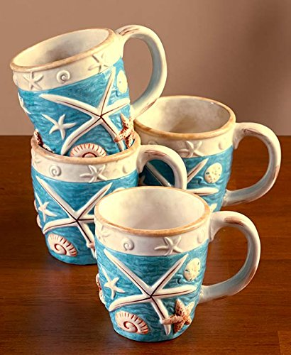 Seashell Coastal Cottage Mugs 12 Oz Hand Painted Earthenware Set of 4