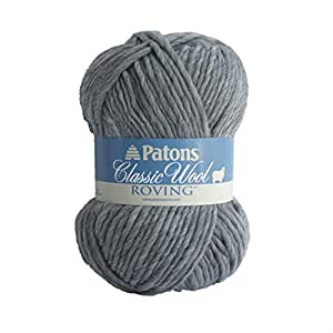 Patons  Classic Wool Roving Yarn - (5) Bulky Gauge 100% Wool - 3.5oz -  Grey -   For Crochet, Knitting & Crafting