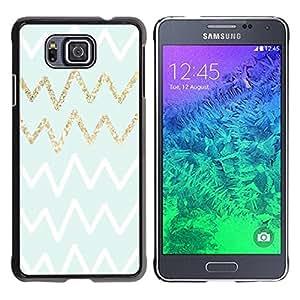 Paccase / SLIM PC / Aliminium Casa Carcasa Funda Case Cover para - Gold White Green Zag Pattern - Samsung GALAXY ALPHA G850