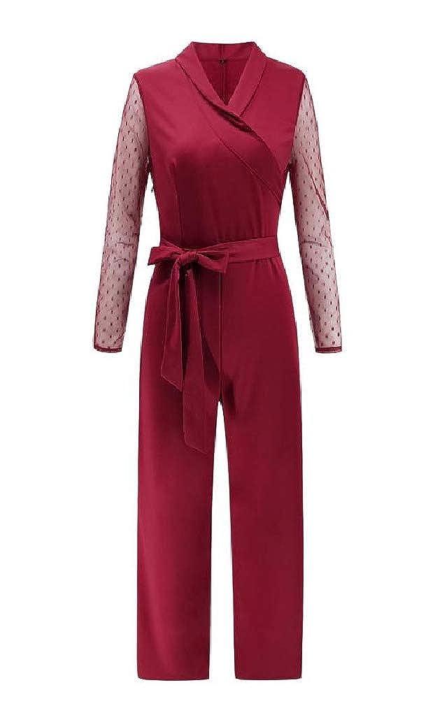 Wofupowga Womens Long Sleeve Self Tie Polka Dot Fall Romper Wrap Jumpsuit