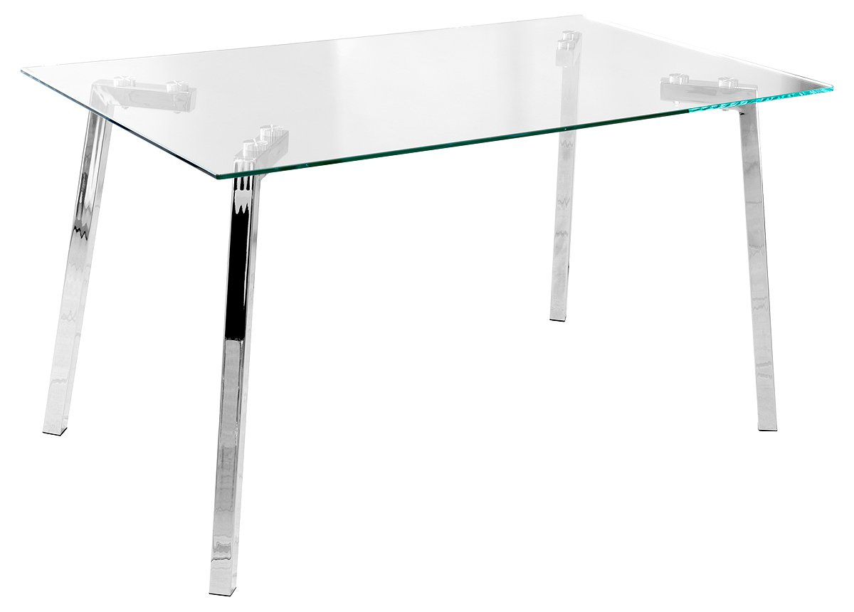 Febland Clear Glass Dining Table, 140x79.5x76 cm FW982