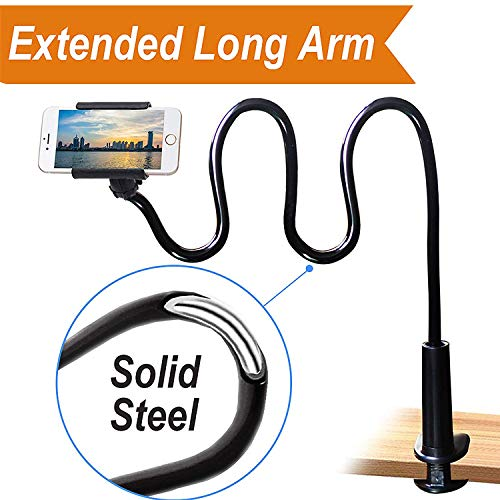 Cell Phone Clip on Stand Holder - with Grip Flexible Long Arm Gooseneck Bracket Mount Clamp Compatible with iPhone X/8/7/6/6s Plus Samsung S8/S7 - Black