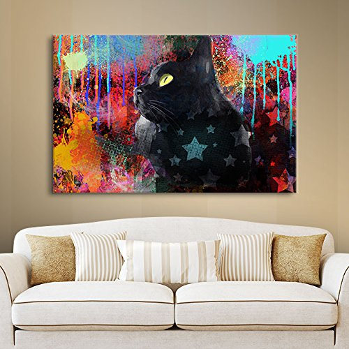 ArtWall Svetlana Novikova's Black Cat Pop Art Gallery-Wrapped Canvas Wall Art, 14 by 18-Inch
