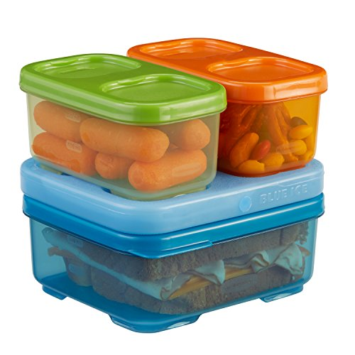 Rubbermaid LunchBlox Kids Tall Lunch Container Kit, Blue/Orange/Green, - Hours Block Of Orange