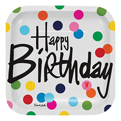 French Bull Birthday Dots- 7-Inch Square Snack Plate, 10-Count