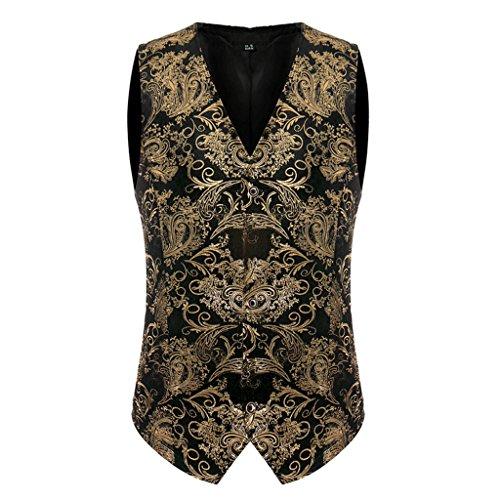 EgoLanding Men's Victorian Steampunk Gothic Gold Brocade Vagabond Vest Waistcoat(L)