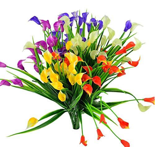(EDINSY Artificial Flowers Plants Calla Vase Herbs Plastic Leaves Fake Bushes Greenery for Window Box Yard Indoor Garden Office Balcony Decoration Wedding Decor 5Packs (Mixtz))