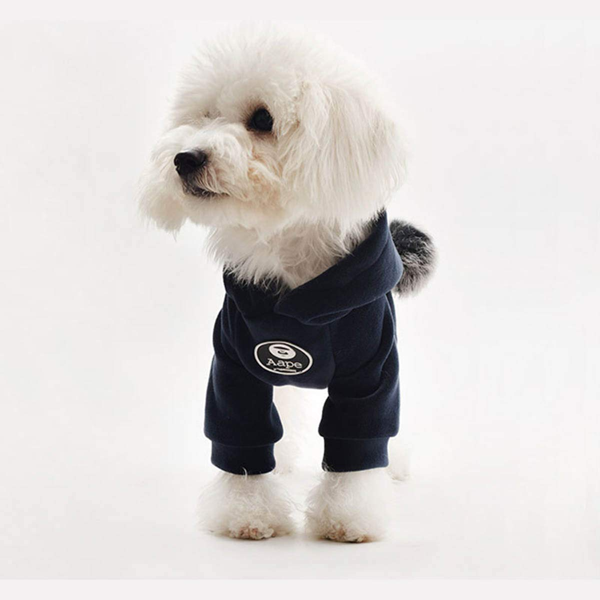 Navy XXL Navy XXL PETFDH Pet Dog Hoodies Clothes Cotton Autumn and Winter Sports Sweater Clothing Coat for Small Dog Teddy Law Fighting Navy XXL