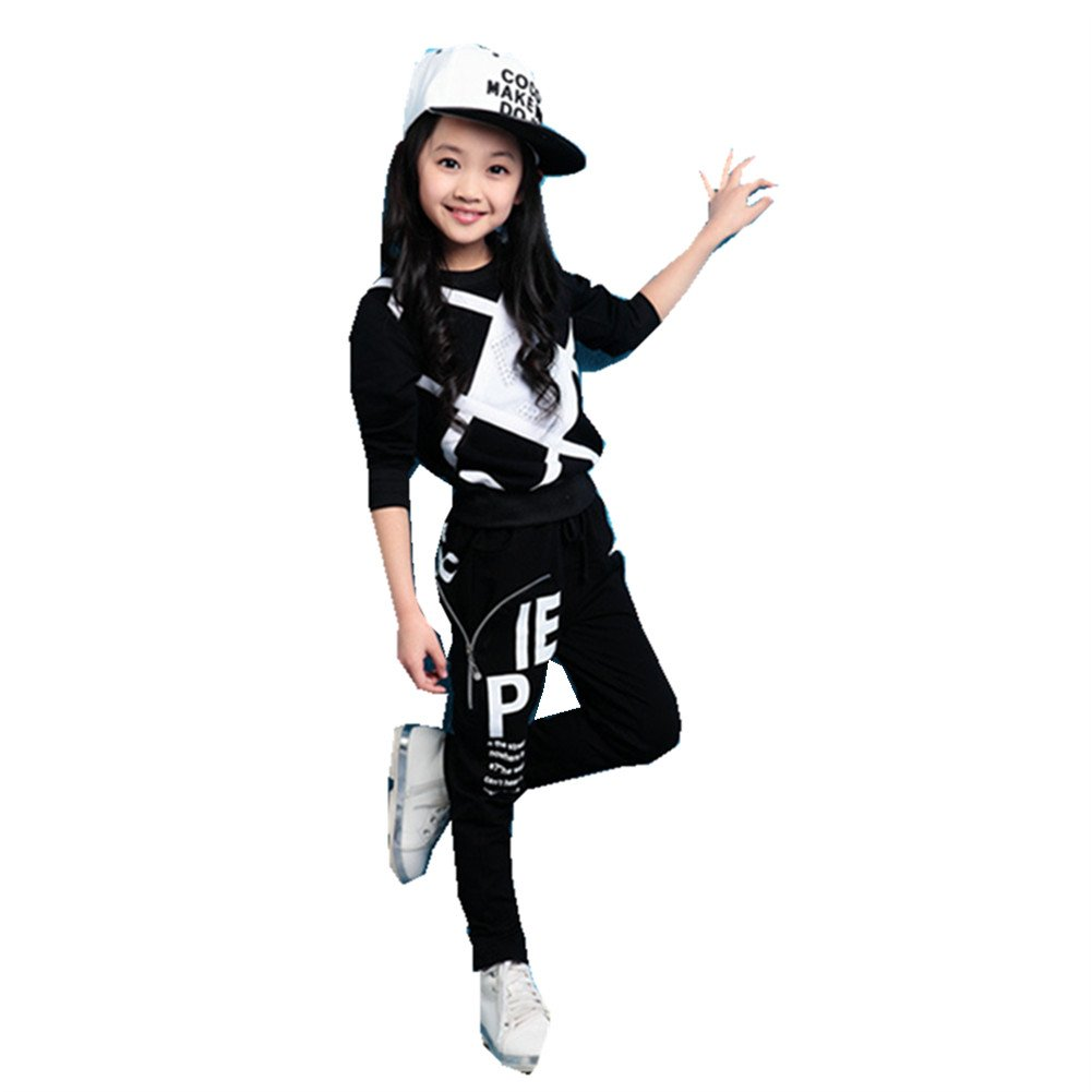 FTSUCQ Girls Pullover Printed Tracksuits Sport Suits Coat + Pants,Black 130