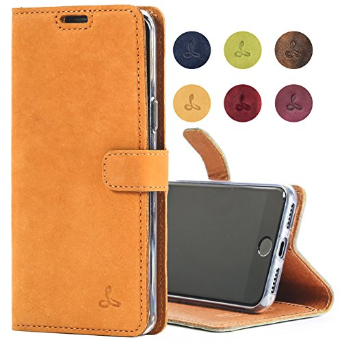iPhone 8 Case, Snakehive Genuine Leather Wallet with Viewing Stand and Card Slots, Flip Cover Gift Boxed and Handmade in Europe by Snakehive for iPhone 8 - (Burnt Orange)