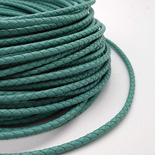 Laliva 1 Yard 4mm Diameter Round Turquoise Braided Bolo Leather Strap, 4mm Braid Leather Cord for Bracelet Making BP4M81