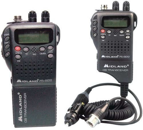 Midland - Handheld 40-Channel CB Radio with Weather/All-Hazard Monitor & Mobile Adapter
