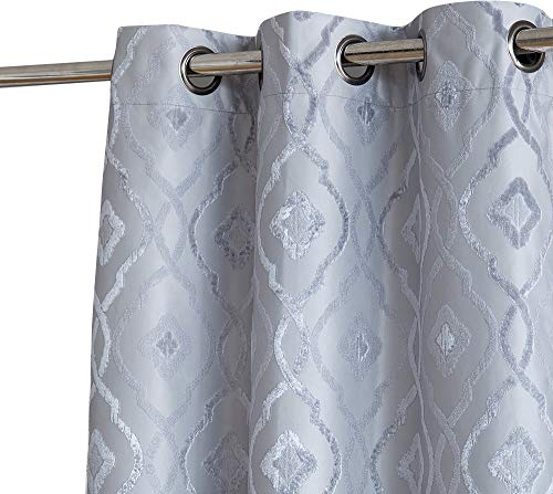 """Trellis Flocked 100% Blackout Thermal Window Curtain Grommet Panels for Sliding Glass Patio Doors - Energy Efficient, Complete Darkness, Noise Reducing - (100"""" W x 84"""" L, Light Grey)"""