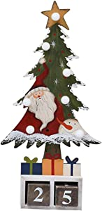 E-view Christmas Advent Calendar Wooden Xmas Tree Tabletop Decor with Lights, Rustic Countdown with Number Blocks Wood Santa Snowman Decoration Indoor Holidays Ornament (Santa)