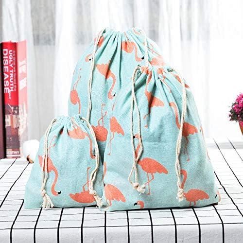 25 cm LAAT Sac /à Cordon Rangement en Lin de Coton Sachet Pochette Organisateur des Voyage Sac Cadeau de Noel danniversaire Size 32