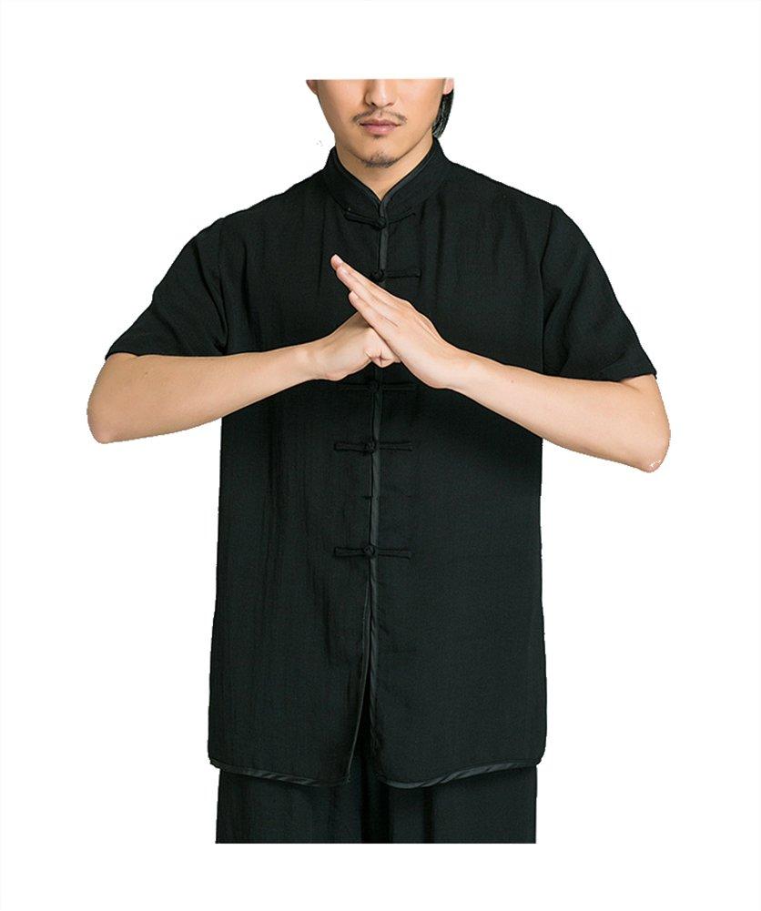 KIKIGOAL Unisex Chinese Traditional Stretch Tai Chi Uniform Kung Fu Clothing Martial Arts Wear (XXL, black)