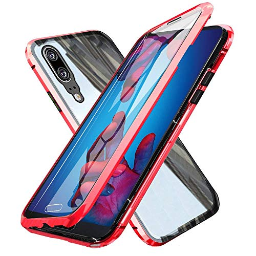 Price comparison product image Oihxsetx Compatible for Huawei Honor 20 Pro Magnetic Adsorption Double Side Tempered Glass Case, Ultra-Thin Magnetic Metal Frame Full Body Protection Cover Support Wireless Charging -Red