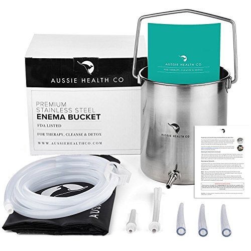 Aussie Health Co Non-Toxic Stainless Steel Enema Bucket Kit. 2.0 Litre....