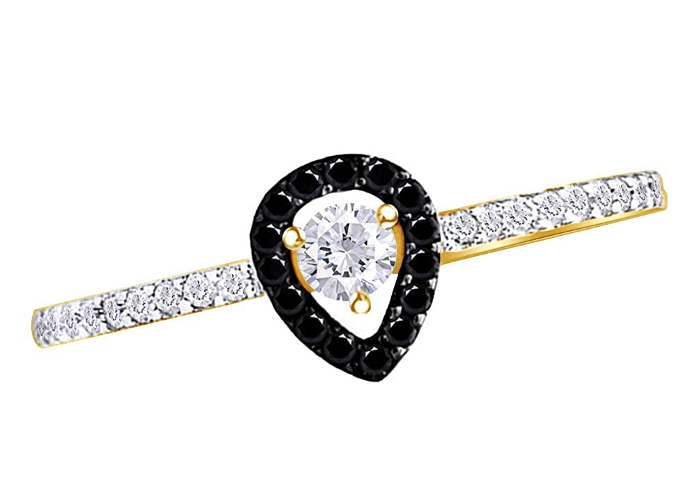 Wishrocks Round Cut Black /& White Cubic Zirconia Engagement Ring in 14K Yellow Gold Over Sterling Silver