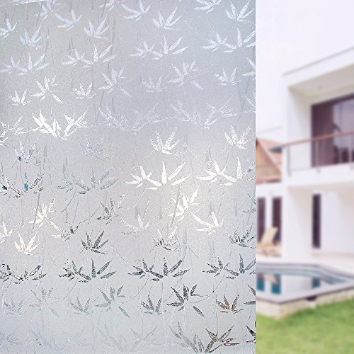Plenty Flair Window Film Bamboo Static Decorative Privacy Window Films Non-Adhesive Anti Uv Window Sticker for Home Kitchen Bedroom Living Room in Size 17.7 in. by 78.7 in. ()