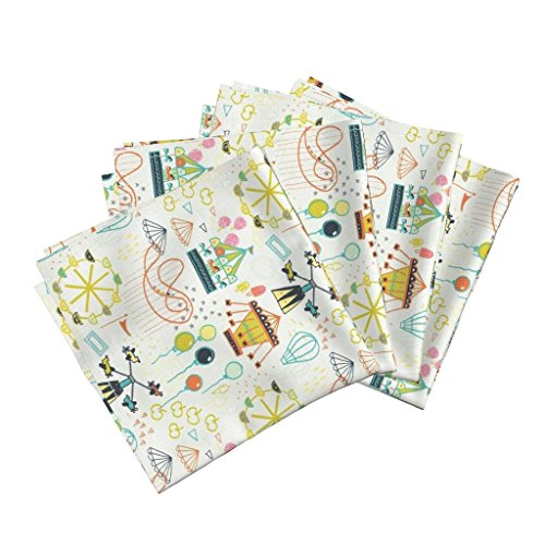 (State Fair Carnival Cotton Candy Funnel Cake Roller Coaster Ferris Wheel Prizes Organic Sateen Dinner Napkins Fun Fair by Friztin Set of 4 Dinner Napkins)