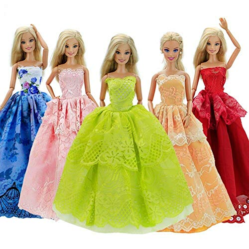 Clothes Dress for Barbie Doll,Wedding Party Gown Outfit for 11.5 Inch Dolls (5 pcs)