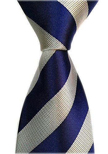 Blue Striped Designer Silk Necktie (Allbebe Men's Classic Striped Blue Grey Jacquard Woven Silk Tie Formal Necktie)