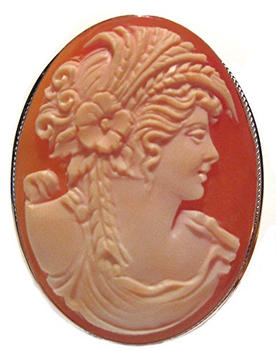 Cameo Pin Pendant Italian Sterling Silver Master Carved Carnelian Conch Shell Autumn Love Cameo Italian Pin Pendant