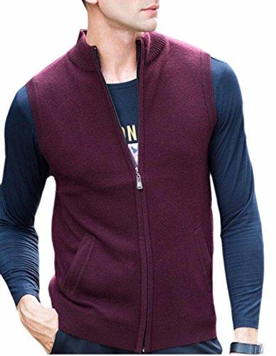 Collar Red Stand Casual Fleece Jacket Vest Sleeveless Up UK Mens today Zip tpqw7Fn