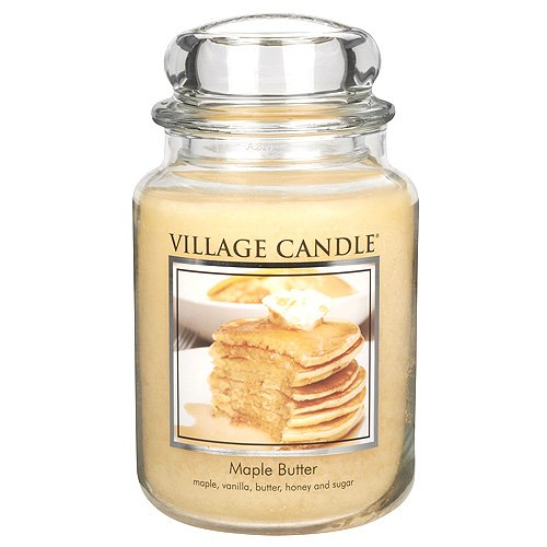 (Village Candle Maple Butter 26 oz Glass Jar Scented Candle, Large,)