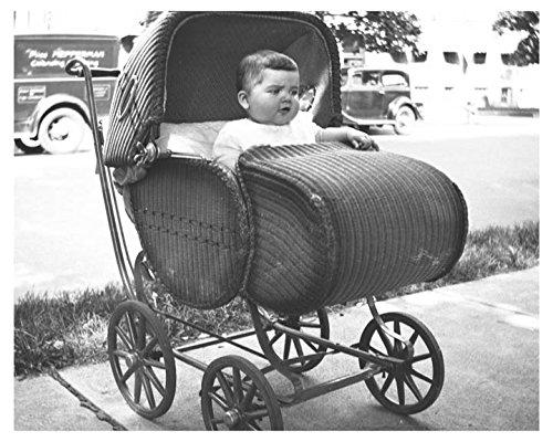 1932 Baby In Wicker Baby Buggy Photo - Wicker Buggy