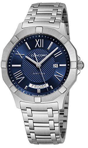 Concord Saratoga Mens Stainless Steel Classic Watch - 40mm Blue Face with Second Hand, Day Date and Sapphire Crystal Analog Quartz Watch - Metal Band Swiss Made Nice Luxury Watches for Men 0320349