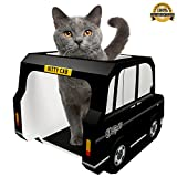 Kitty Cab - The London Black Cab is a Stylish Cardboard Toy Designed to Entertain Adult Cats, Kittens or Rabbits– Use as a Scratcher Post, Toys or Bed. Bonus eBook